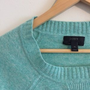 Mint color block crew sweater with cashmere